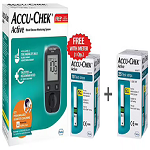 Accu-Chek Combo Pack of Active Blood Glucose Monitoring System with 10 Strip Free & Accu-Chek A