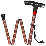 MCP Smart Folding Height Adjustable Walking Stick with LED Torch Light and SOS Alarm Single Leg